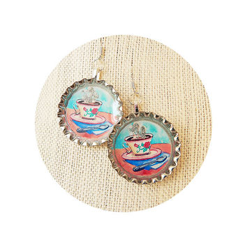 Tea Cup Bottle Cap Earrings - Coffee Cup Earrings - Kawaii Jewelry - Espresso Earrings - Coffee Lover - Nickel Free - .925 Silver Ear Hooks