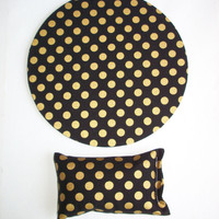desk set - mouse pad and wrist rest - gold dots on black - mousepad set coworker gift Desk cubical Accessories