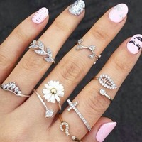 3PC Rhinestone Midi RIngs for Women Jewelry Knuckle Ring