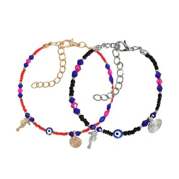 Evil Eye Protection Love Couples Amulets Set Royal Red Blue Pink Black Sea Horse Power Bracelets