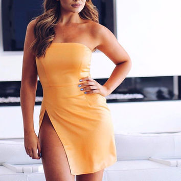 Orange Side Slit Cocktail Dress