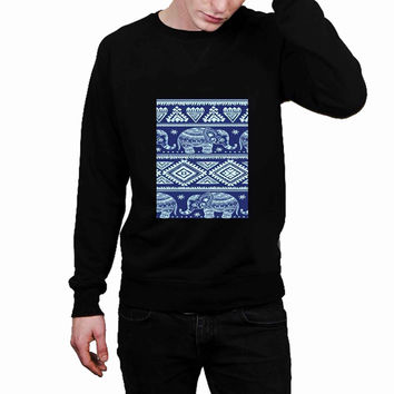 Blue Tribal Elephant Aztec 2f1b0707-c8eb-45a9-9869-f4e7bee5ef69 - Sweater for Man and Woman, S / M / L / XL / 2XL *02*