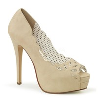 Pin Up Couture Bella Beige Faux Platforms