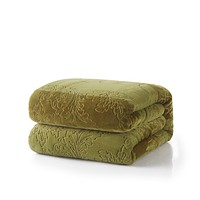 Tache Solid Embossed Green Olive Sherpa Throw Blanket (62096)