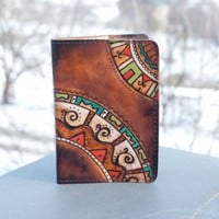 Leather Passport Case African Print Design Accesories Holder Wanderlust Travel Gifts For Friends Dark Brown Multicolor Hipster Unique Gift