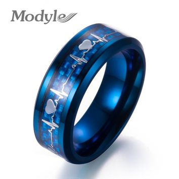 Modyle 2018 New Fashion Black Carbon Fiber Punk Jewelry Stainless Steel Heartbeat Wedding Ring for Men Women