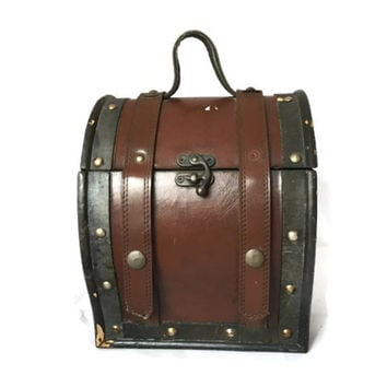 Vintage Pirate Treasure Chest Trinket Box, Small Chest Leather, Wood and Brass
