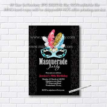 MASQUERADE Party Invitation Birthday Invitation for any age 10 16 18 20 30 40 50 60 70 Fun Happy party Invitation Card Design - card 382