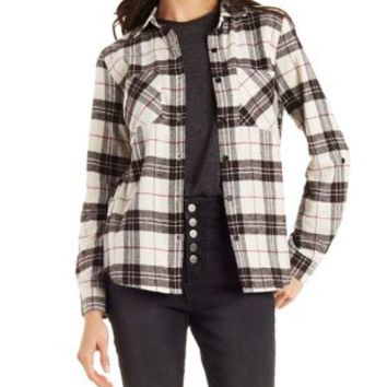 Button-Up Plaid Top with Pockets & Tulip Slit