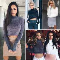High Collar Mohair Sexy Short Crop Top Sweater