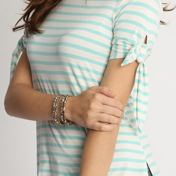 Newport Bay Stripe Knit Top In Mint | Ruche