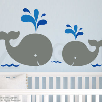 Children Wall Decal Mom and Baby Whales Vinyl decal