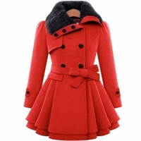 Fur Collar Pleated Long Sleeve Women Trench Coat