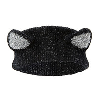 FOREVER 21 Cat Ears Headwrap Black/Silver One