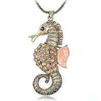 Synthetic Topaz Crystal Rhinestone Sea Creature Seahorse Costume Necklace