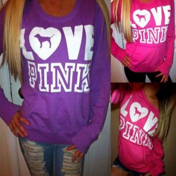 DCCKFC8 Victoria's Secret LOVE PINK Women's Fashion Letter Print Round neck Long-sleeves Pullover Tops Sweater