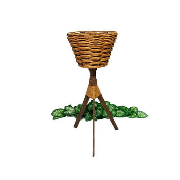 Plant Stand Woven Basket Wood Rope Tripod Base Vintage MCM Boho Flower Pot Planter Indoor Outdoor Garden Decor Wicker Three Legs Display