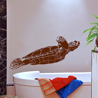 Sea Ocean Turtle Decal Marine Decor Turtle Wall Decal Nautical Vinyl Stickers Tortoise Tortoiseshell Decals Bathroom Decor Art Murals KI132