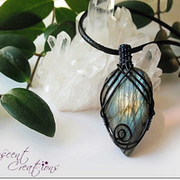 OOAK Wire wrap Labradorite necklace, blue green labradorite pendant, intricate wire wrap, black & dark blue wire, unique necklace for women