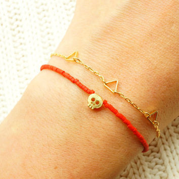 Red Beaded Bracelet w/ Tiny Gold Skull & Red Pendant - Friendship Bracelet