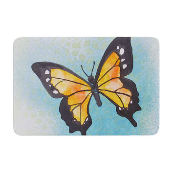 "Padgett Mason ""Summer Flutter"" Blue Orange Memory Foam Bath Mat"