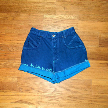 Vintage Denim Cut Offs - Vintage 80s Bright TEAL/Aqua/Turquoise Jean Shorts - High Waisted/Frayed/Button Fly GITANO Short Shorts - Size 5/6