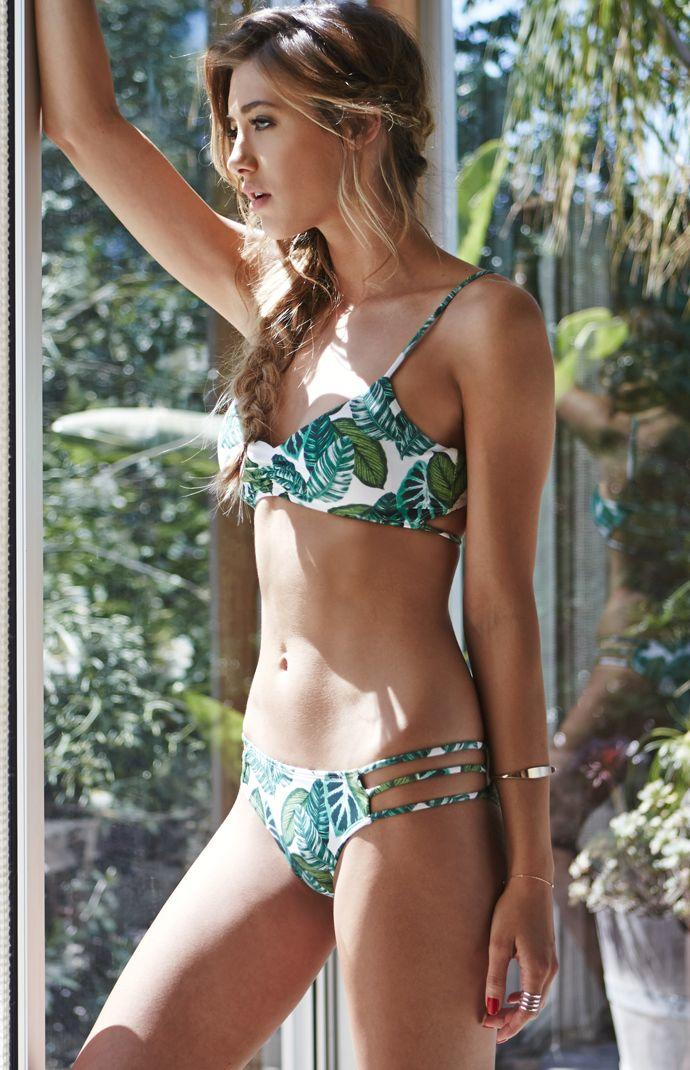 e18e770c27 LA Hearts Ladder Back Floral Bralette Bikini Top - Womens Swimwear - Green