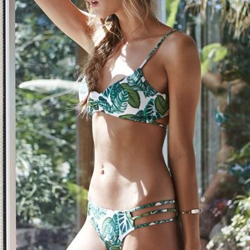 LA Hearts Ladder Back Floral Bralette Bikini Top - Womens Swimwear - Green