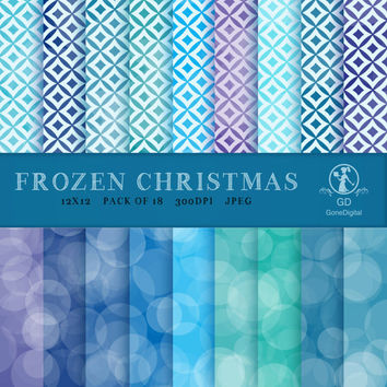 Frozen Christmas 12x12 Digital Paper Pack Printable Designs Instant Download Scrapbooking Collection - Pack of 18 - Blue & Purple