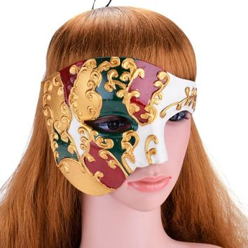 Classic Venetion Mens Party Mask Half Face Phantom Of the Opera Mask Handsome Mardi Gras Mask Masquerade Mask Solid Color
