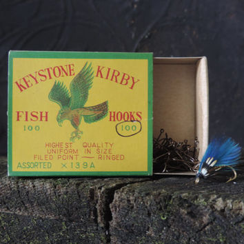 Vintage Fish Hooks Keystone Kirby Unused Fish Hooks featuring Original Box 100 New Vintage Hooks.