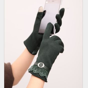 Touch screen gloves lace thickening cycling gloves Green