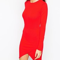 ASOS PETITE Asymmetric Bodycon Dress with Longsleeves