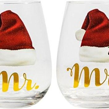 Elegant Home Personalized Gift Set of Two 19 Oz Mr amp Mrs Santa Stemless Wine Glass