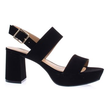 Camile04S Black By Bamboo Retro Chunky Low Block Heel Platform Sandal w Sling Back Buckle