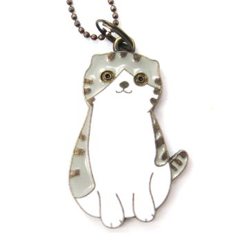 Kitty Cat Shaped Enamel Animal Pendant Necklace | Animal Jewelry