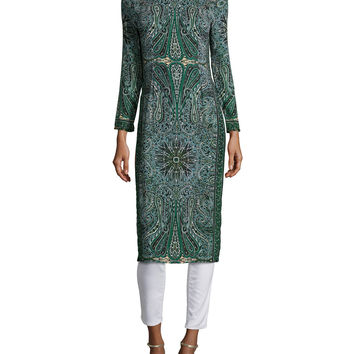 Tito Long-Sleeve Printed Dress, Emerald, Size: