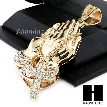 "Men Praying Hands Holding Cross Pendant 30"" Heavy Cuban Link Chain 43"