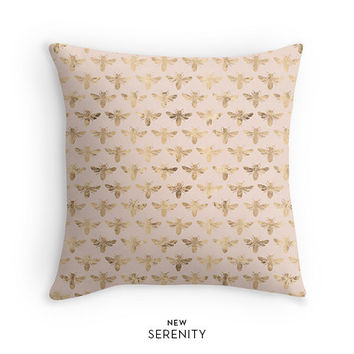 Gold Bee Pillow Cover, Gold Pillow, Bee Pillow, Peach Pillow, Decorative Pillow, Cushion Cover,Faux Gold Foil,Home Decor,NewSerenityStudio