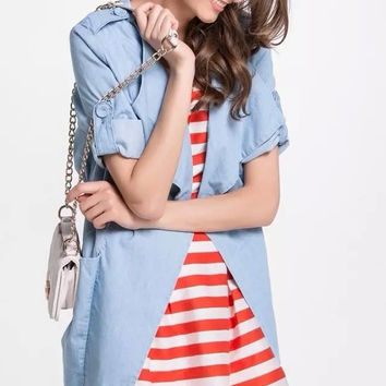 Blue Denim Sleeve Lapel Tie-Waist Dress With Pocket