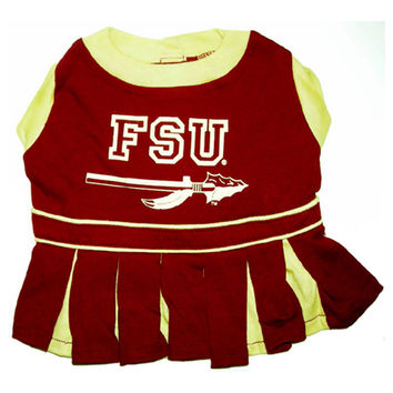 Mirage Pet Products Puppy Dog Cat Costume Florida State Seminoles Sports Team Logo Cheer Leading Uniform SM