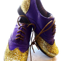 Custom painted purple shoe with gold glitter, heel, women's size 8.5 ON SALE