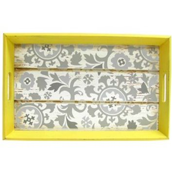 Yellow, White & Gray Floral Tray | Shop Hobby Lobby