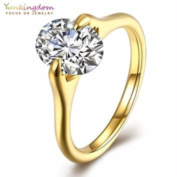Yunkingdom gold-color engagement wedding rings for women retro style steel ring wholesale /retail/dropshipping K5072