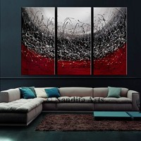 """Abstract Painting 72"""" Red Triptych Modern Painting on Canvas Luxury Style Original Abstract String Art Office Decor, Ready to Hang - Nandita"""