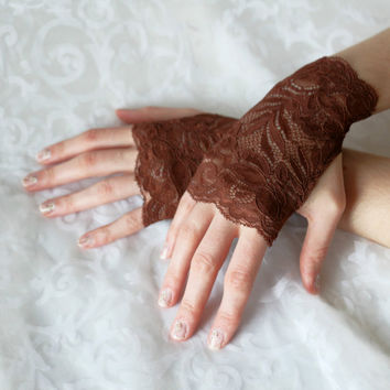 Fingerless gloves brown short steampunk floral burlesque