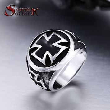 Steel soldier hot sale Stainless Steel Cool Fashion Iron Cross Ring Man Black Oil Painting jewelry BR8-073