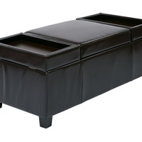 INSPIRED by Bassett Geneva Storage Ottoman In Espresso Bonded Leather, KD Legs