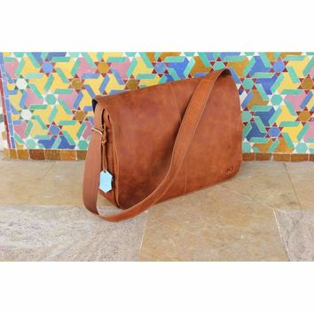 0c5b8d63cc1f Vintage by MJ - messenger bag men and women leather -moroccan le