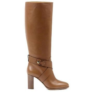 Brown 39 EUR - 9 US Ralph Lauren Womens High Boot MEARA SPORT CALF RL GOLD